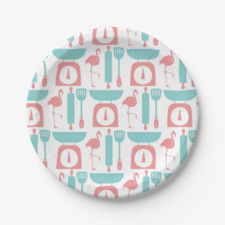 Retro Pink Flamingo Kitchen Paper Plate 7 Inch Paper Plate
