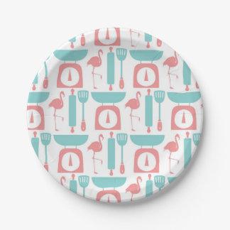 Retro Pink Flamingo Kitchen Paper Plate 7 Inch Paper Plate