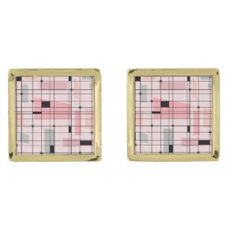 Retro Pink Grid and Starbursts Cufflinks Gold Finish Cufflinks