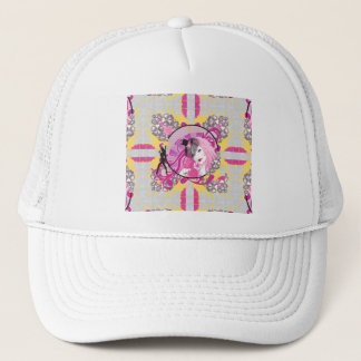 Retro Pink Haired Girl With Lollipop & Flowers Trucker Hat