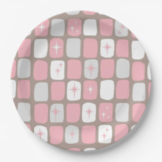 Retro Pink Starbursts Paper Plates 9 Inch Paper Plate