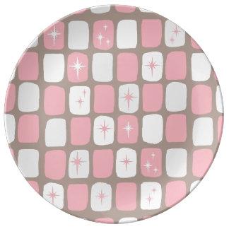 Retro Pink Starbursts Porcelain Plate