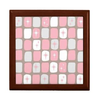 Retro Pink Starbursts Tile Gift Box