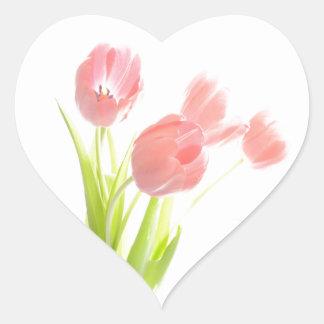 Retro pink tulip flower Scrapbook heart sticker