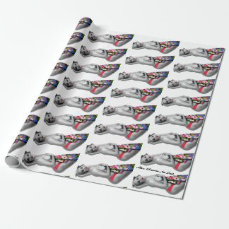 Retro Pinup Girl Patterned Tropical Tiki White Wrapping Paper