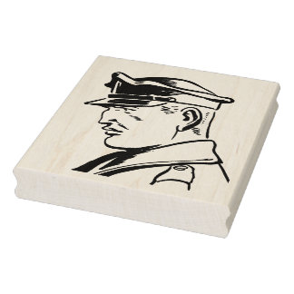Retro Police Officer Rubber Art Stamp