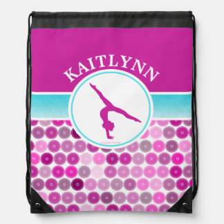 Retro Purple Circles Gymnastics by Golly Girls Drawstring Bag