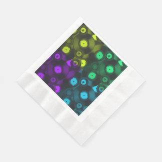 Retro Records Neon Colorful Collage Disposable Napkins