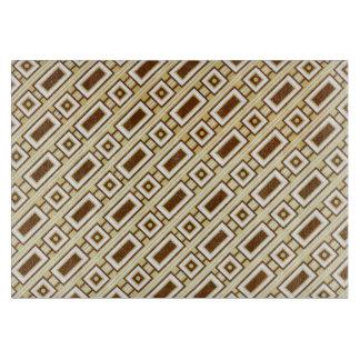 Retro Rectangles Cutting Board - Brown