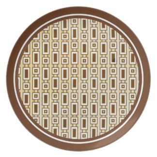 Retro Rectangles Plate - Brown