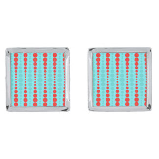 Retro Red and Turquoise Dots Cufflinks Silver Finish Cuff Links