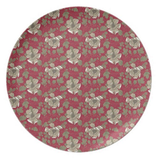 Retro Red Floral Dinner Plate