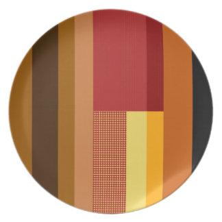 Retro Red Orange Yellow Cream Dots Striped Pattern Dinner Plates