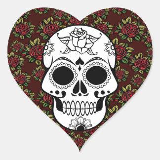 Retro red roses skull rockabilly heart sticker