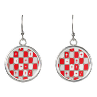 Retro Red Starbursts Earrings