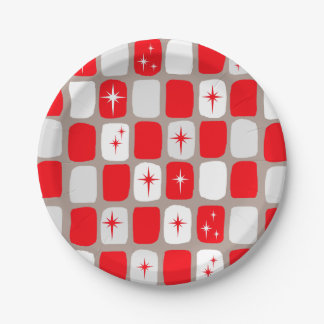 Retro Red Starbursts Paper Plates 7 Inch Paper Plate