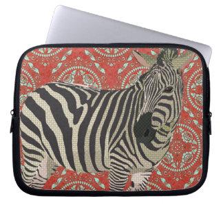 Retro Red Zebra Computer Sleeve