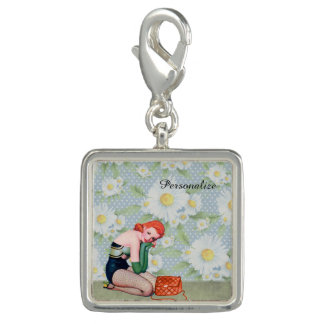 Retro Redhead Pin-up Girl Charm, Silver Plated