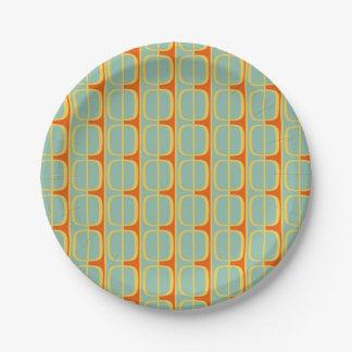 Retro Retro Squares and Stripes 7 Inch Paper Plate