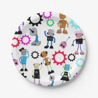 Retro Robots 7 Inch Paper Plate