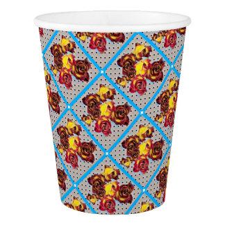 Retro rosebuds paper cup