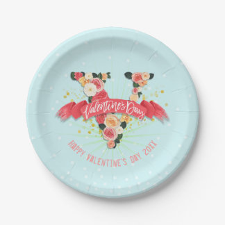 Retro Roses Valentine's Day 7 Inch Paper Plate