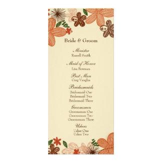 Retro Rust Orange Flowers Wedding Program Rack Card Design