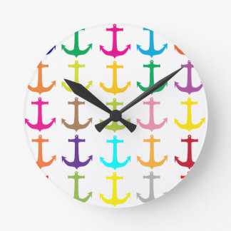 Retro sailors nautical anchor pattern round clock