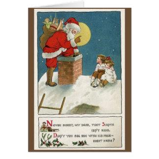 Retro Santa and Children on Chimney Christmas Card