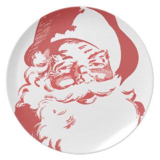 Retro Santa Christmas plate