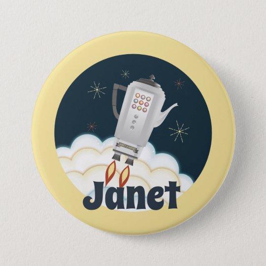 Retro sci-fi coffee pot rocket name badge