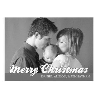Retro Script Merry Christmas Card (Dark Gray) Custom Announcements