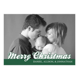 Retro Script Merry Christmas Card (Evergreen) Custom Invitation