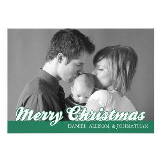 Retro Script Merry Christmas Card (Green) Custom Invitation