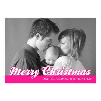 Retro Script Merry Christmas Card (Hot Pink) Announcements