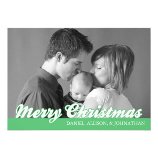 Retro Script Merry Christmas Card (Mint Green) Invitations