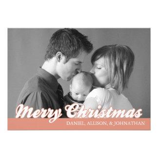 Retro Script Merry Christmas Card (Orange) Invite