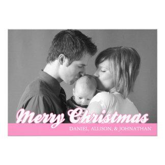 Retro Script Merry Christmas Card (Pink) Custom Invitations