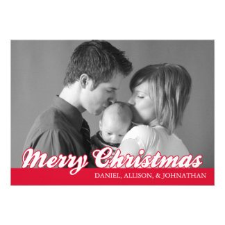 Retro Script Merry Christmas Card (Red) Announcements