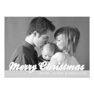 Retro Script Merry Christmas Card (Silver) Invitations