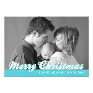Retro Script Merry Christmas Card (Teal) Personalized Invitation