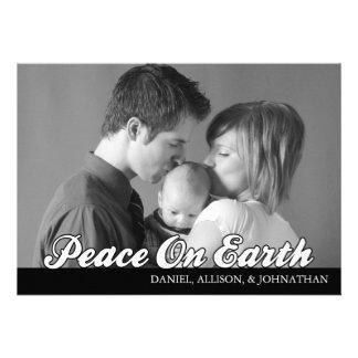 Retro Script Peace On Earth Christmas Card (Black) Custom Announcements