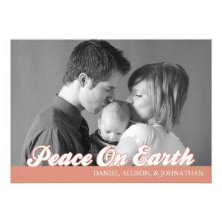 Retro Script Peace On Earth Christmas Card Orange Custom Announcements