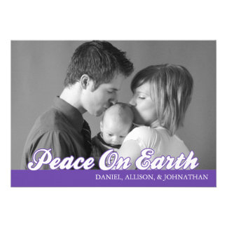 Retro Script Peace On Earth Christmas Card (Plum) Personalized Announcements