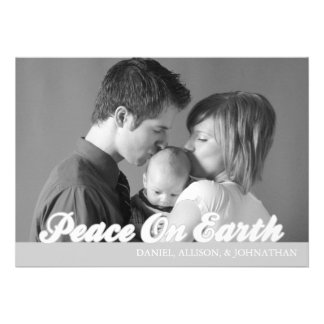 Retro Script Peace On Earth Christmas Card Silver