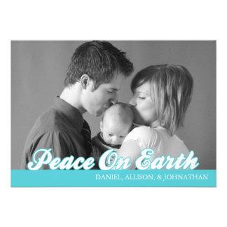 Retro Script Peace On Earth Christmas Card (Teal)