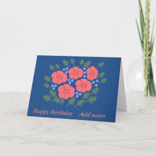 Retro Seventies floral Birthday add name front Card