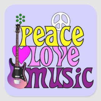 Retro seventies peace love music square sticker