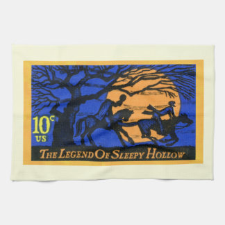 Retro Sleepy Hollow Stamp Tea Towel