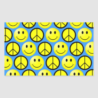 Retro Smiley Peace Rectangle Stickers
